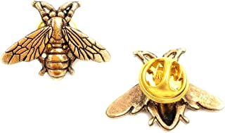 DOMILINA Vintage Male Metal Bees Shirt Brooch Novelty Suit and Vest Pin (2Pc Pin)