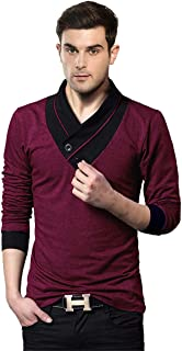 EYEBOGLER V-Neck Shawl Collar Men's Solid T-Shirt
