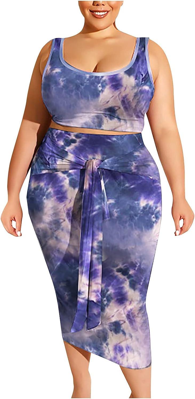 ESULOMP Plus Size Dress Suits Womens Tie Dye Tight Buttock Skirt + Sleeveless Tank Tops Bodycon Dress Sets