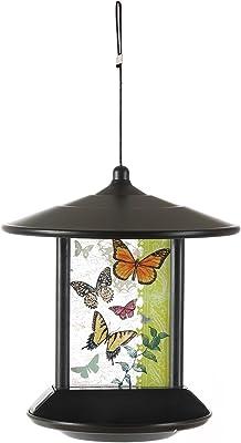 CEDAR HOME Hanging Solar Bird Feeder Outdoor Garden Decorative Water Proof Glass Pet Birdfeeder with Eave, Butterflies Kaleidoscope