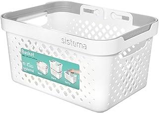 Sistema Stack 'n' Nest Basket-5.25litre, Blanc Cassé/Gris, 26.1x 19.1x 13.8cm