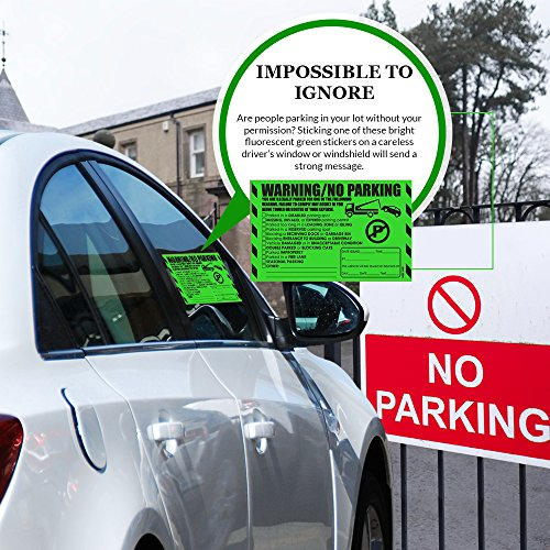 """Parking Violation Stickers for Cars (Fluorescent Green) - 100 Illegal Warning Reserved, Handicapped, Private Parking and More/No Parking Hard to Remove and Super Sticky Tow Warnings 8"""" x 5"""" by MESS Photo #9"""