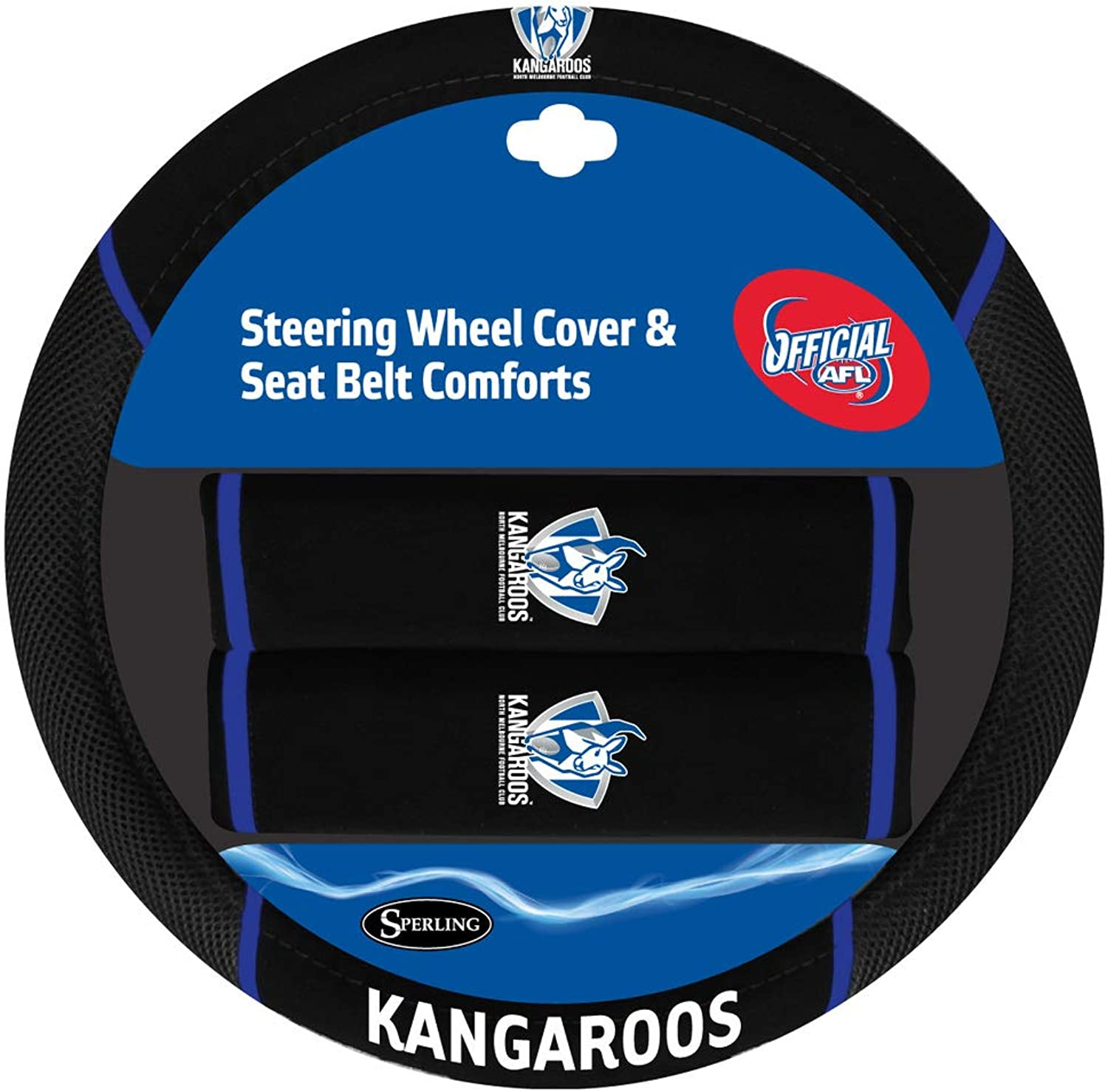 North Melbourne Kangaroos Steering Wheel Cover & Seat Belt Comforts Set