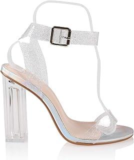 JSUN7 Women's Fashion Ankle Strap Round Toe Summer Clear Chunky Block Heel Sandal Pump Shoe