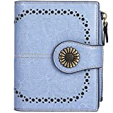 Lavemi Womens Leather Wallet RFID Blocking Small Bifold Compact Credit Card Case Purse for Women with ID Window Zipper Pocket(Light Blue)