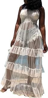 Women Sleeveless Strap Tunic Bodysuits with Mesh Sheer Flowy Ruffle Long Maxi Dress