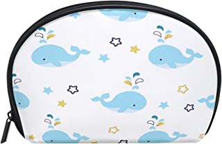 ALAZA Sea Whale Half Moon Cosmetic Makeup Toiletry Bag Pouch Travel Handy Purse Organizer Bag for Women Girls