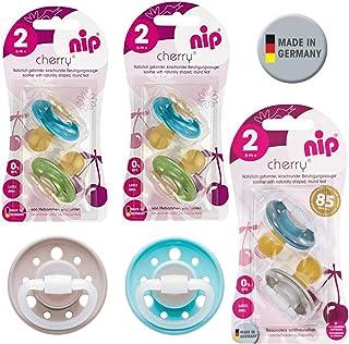 Nip Cherry redondo Aspiradora Chupete//8unidades Boy Set//Talla 2//látex natural//6+ meses//azul & Turquesa + Verde & Azul Claro