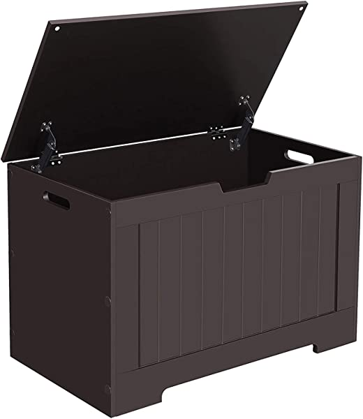 VASAGLE ULHS11BR Lift Top Entryway Storage Chest Bench With 2 Safety Hinge Wooden Toy Box Espresso Renewed