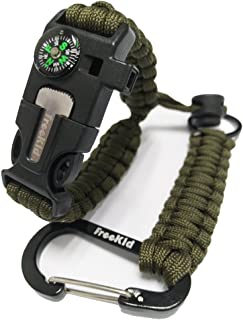 Freekid Bracelet Survival Gear Kit with Embedded Compass, Fire Starter, Emergency Knife & Whistle& Slim Buckle Design 250 lb Keychains Keyrings with Carabiners, EDC for Survival