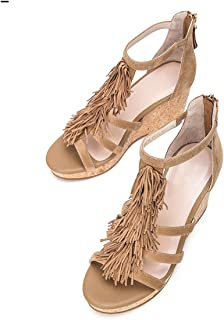 YNXZ-SHOE High Heels Sandals, Trendy Fashion Ms Round Head Shallow Mouth Comfortable Zipper Rubber Sole, Non-Slip/Breathable, Black Beige 35-39 Yards (Color : Apricot, Size : 35)