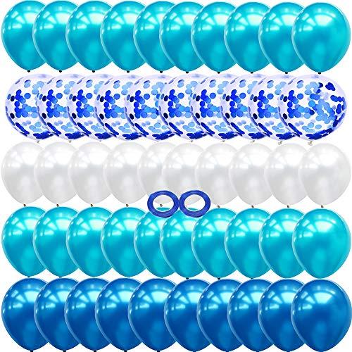JUZNOY 72 Stück Luftballons Grün Blua Rosa Weiß Ballons mit Konfetti für Babyparty Junge Kinder Geburtstag Party Deko (blau)