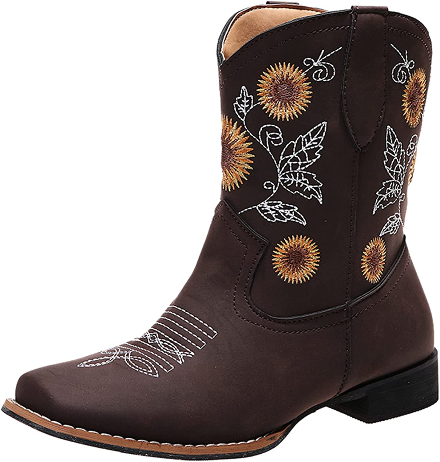 Sale SALE% OFF Women's Ankle 40% OFF Cheap Sale Boots Fashion Square Embroidered Et Large Size Toe