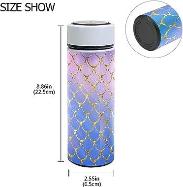 ZZKKO Ocean Mermaid Vacuum Insulated Stainless Steel Water Bottle, Mermaid Scales Thermos Cup Water Bottle Travel Mug BPA Fre
