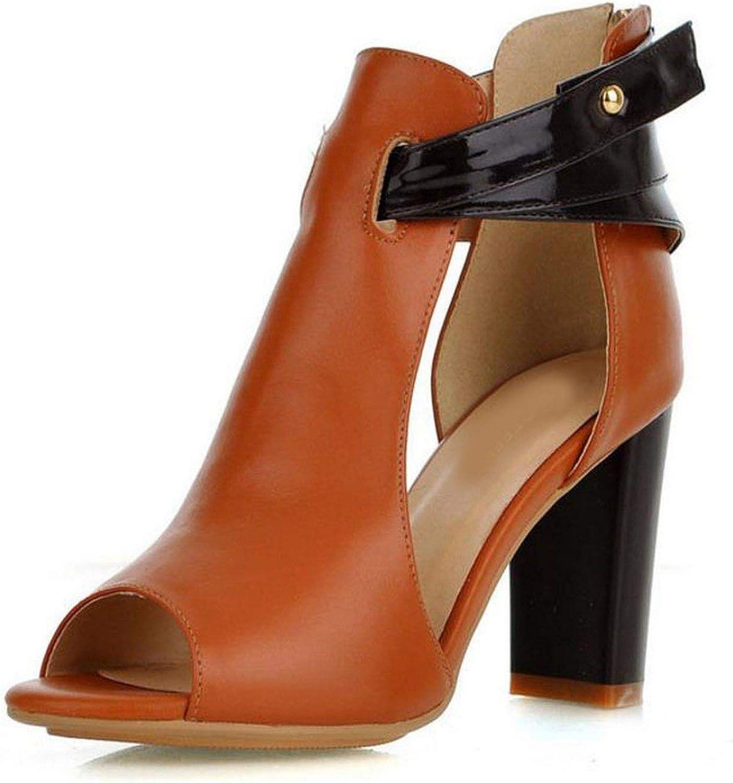Houfeoans Women's Natural Real Genuine Leather High Heel Sandals Gladiator Ladies Heels Platform Sandals shoes