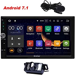 Eincar Standard Double 2 Din Android 7.1 in Dash Car Stereo Radio Quad Core GPS Navigation Support 4G 3G WiFi Bluetooth Mirrorlink SWC Dual Cam-in with Free Rear Camera External Microphone