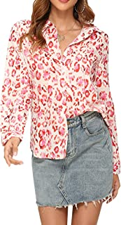 Upopby Women's Printed Button Down Blouse Shirt Long Sleeve V Neck Blouses Retro Casual Formal Work Tops