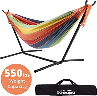 Zupapa Hammock with Stand 2 Person, 550 Pound Capacity Portable for Backyard, Camping Indoor Outdoor Use, Adjustable Steel Hammock Stand and Extra-Large Cotton Hammock, South Beach