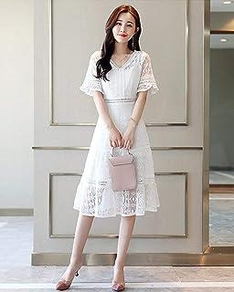 薇小歪 女式 夏装新款韩版修身蕾丝连衣裙女气质高腰镂空喇叭袖修身中长v领白色裙子