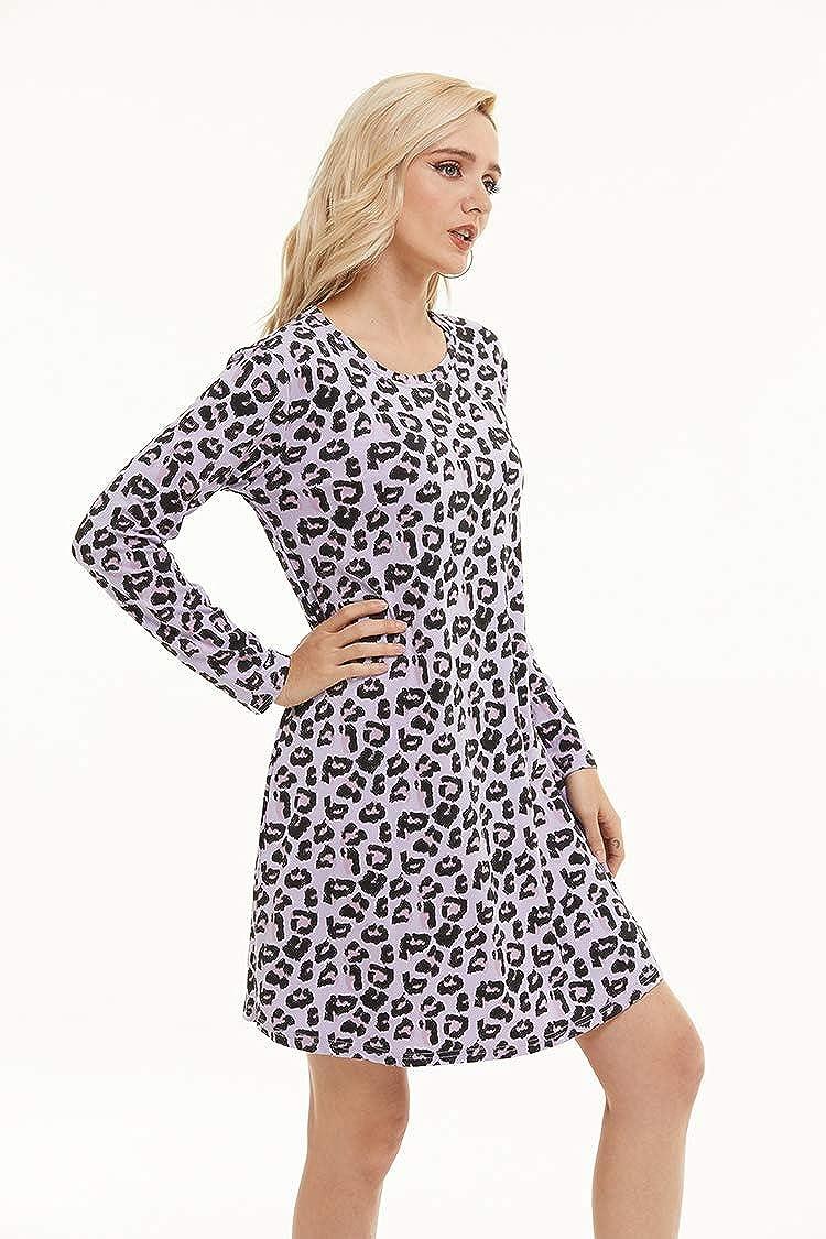 RAYCHIC Nightgowns for Women Long Sleeve Crewneck Sleepwear Print Soft Sleepshirts Casual Lightweight Nightshirt