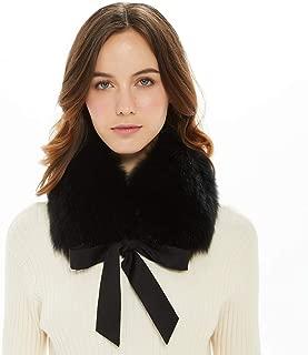 Ferand Ladies Stylish Genuine Fox Fur Collar Scarf with Satin Ribbon