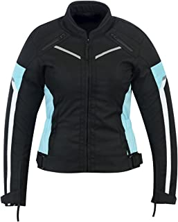 WOMENS MOTORCYCLE ARMORED HIGH PROTECTION WITH ARMOR WATERPROOF ALL WEATHERS JACKET BLACK/BLUE WJ-1834TB (M)