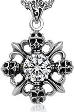 Chrome Hearts Skull Diamond Cross Necklace Pendant