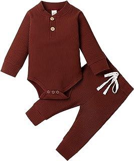 Geagodelia Babykleidung Set Baby Jungen Mädchen Kleidung Outfit Langarm Body Strampler  Hose Neugeborene Kleinkinder Weiche Einfarbige Babyset T-50753