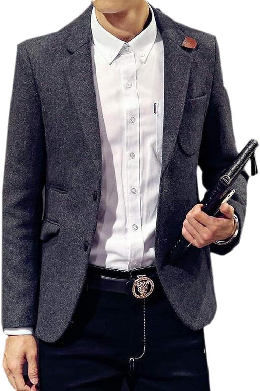 Mens 2 Button Woolen Sport Coat Tailored Collar Bridal Blazer Jacket
