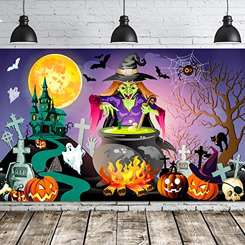 Halloween Party Decoration Backdrop Mural Witches Backdrop Halloween Background Party Banner for Halloween Party Decor Wall Decor (Purple Witches)