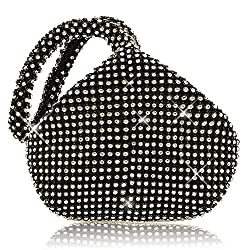 Black (Mini Size) Triangle Full Rhinestones Clutch Bag
