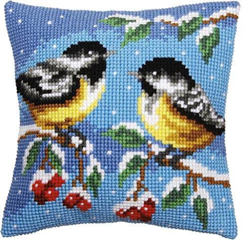 Vervaco–Kit para cojín de Punto de Cruz Dos pájaros en Invierno