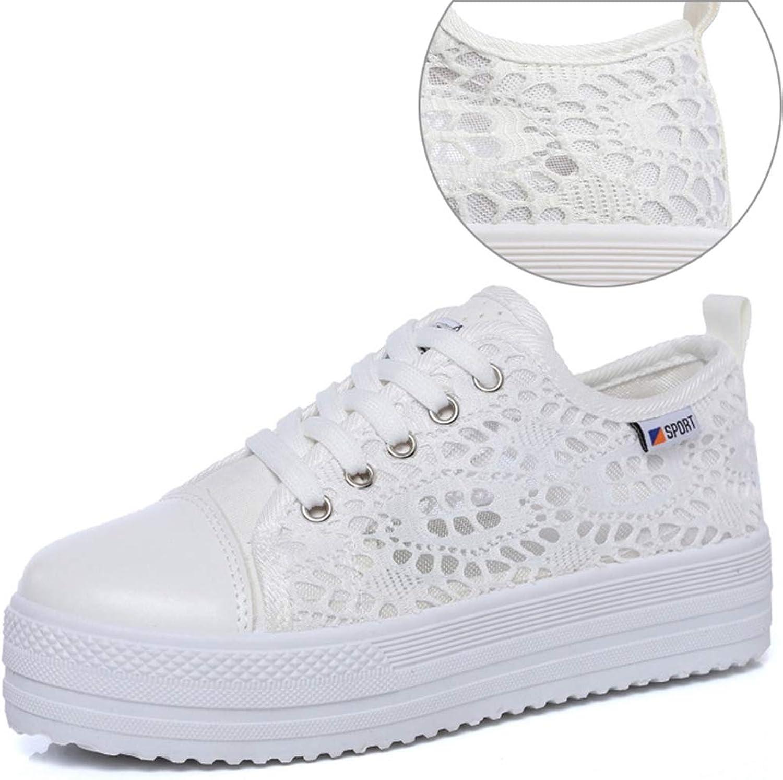 Lady Retro Fashion Casual White Cutouts Lace Canvas Hollow Breathable Platform Flat shoes