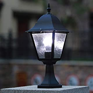 WHYA 42cm Black Outdoor Pedestal Lamp Retro E27 Fence Garden Post Light Aluminum Glass Lawn Lantern Patio Desktop Pillar Lamp IP54 Waterproof Villa Retro Path Lamps