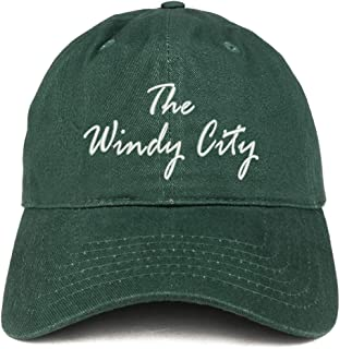 Trendy Apparel Shop The Windy City Embroidered Soft Crown 100% Brushed Cotton Cap