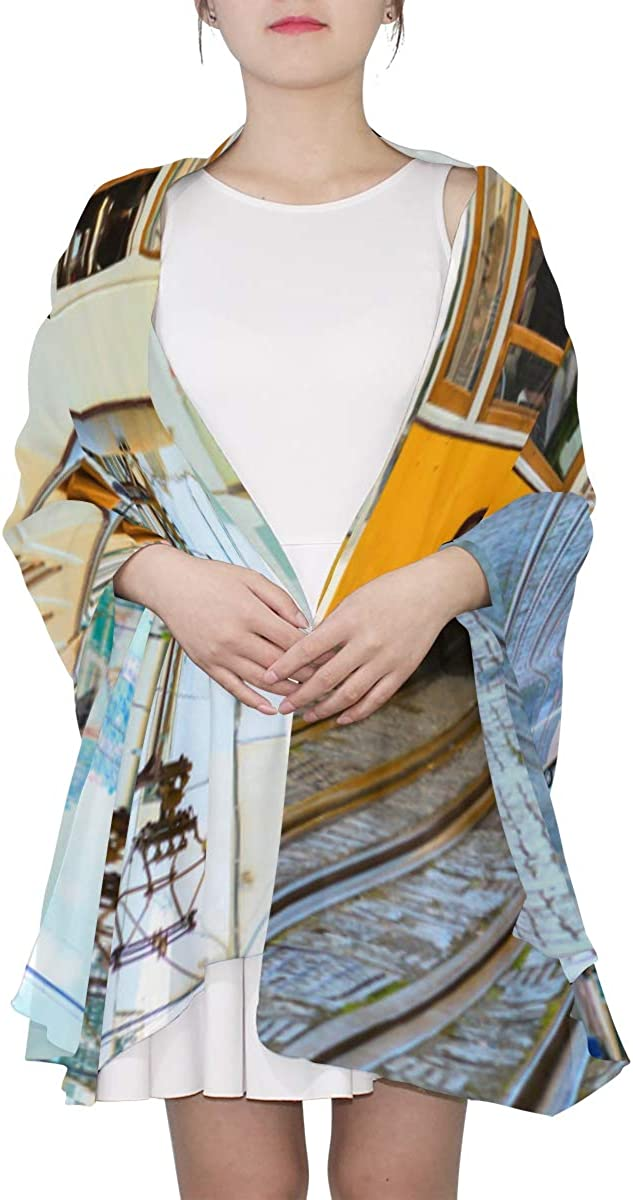 Yellow Tram On Narrow Street Unique Fashion Scarf For Women Lightweight Fashion Fall Winter Print Scarves Shawl Wraps Gifts For Early Spring