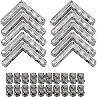 BQLZR derecho ángulo forma plata acero al carbono interior esquina conector conjunto soporte para perfil de extrusión de a...