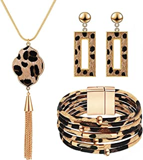 مجموعة مجوهرات جلد الفهد وسوار متدلي للنساء مكون من 3 قطع من COLORFUL BLING