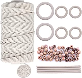 Quacoww 109 Yards Natural Macrame Cord 3mm with 6pcs Wood Ring and 4pcs Wooden Stick for DIY Plant Hangers, Crafts, Knitting