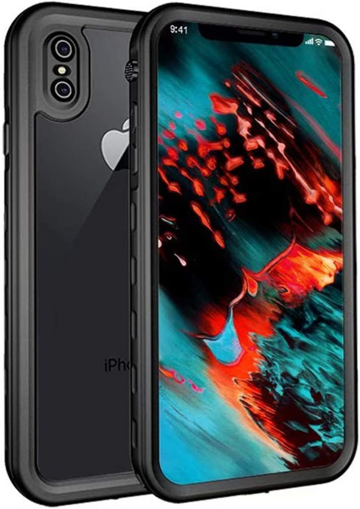 Apple iPhone Xs MAX Case, Full-Body Protective iPhone Xs MAX Waterproof Case with Wrist Strap and Float Strap Shockproof Snowproof Clear Back Cover Case for iPhone Xs MAX 6.5 inch(Black)