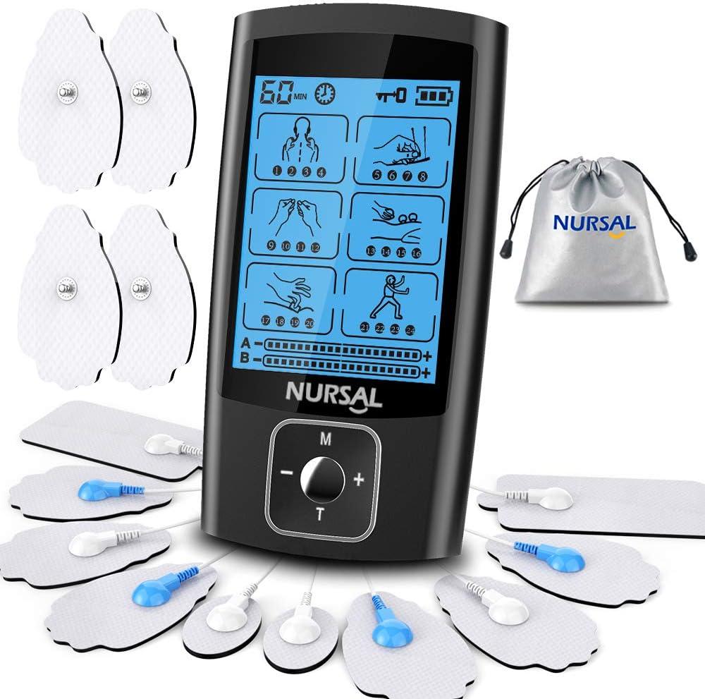 NURSAL Dual Channel EMS TENS Unit 24 Modes Muscle Stimulator $22.99 Coupon