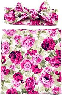 Newborn Baby Girls Sleeping Swaddle With Headband Floral Cotton Wrap Blanket Sleepsacks