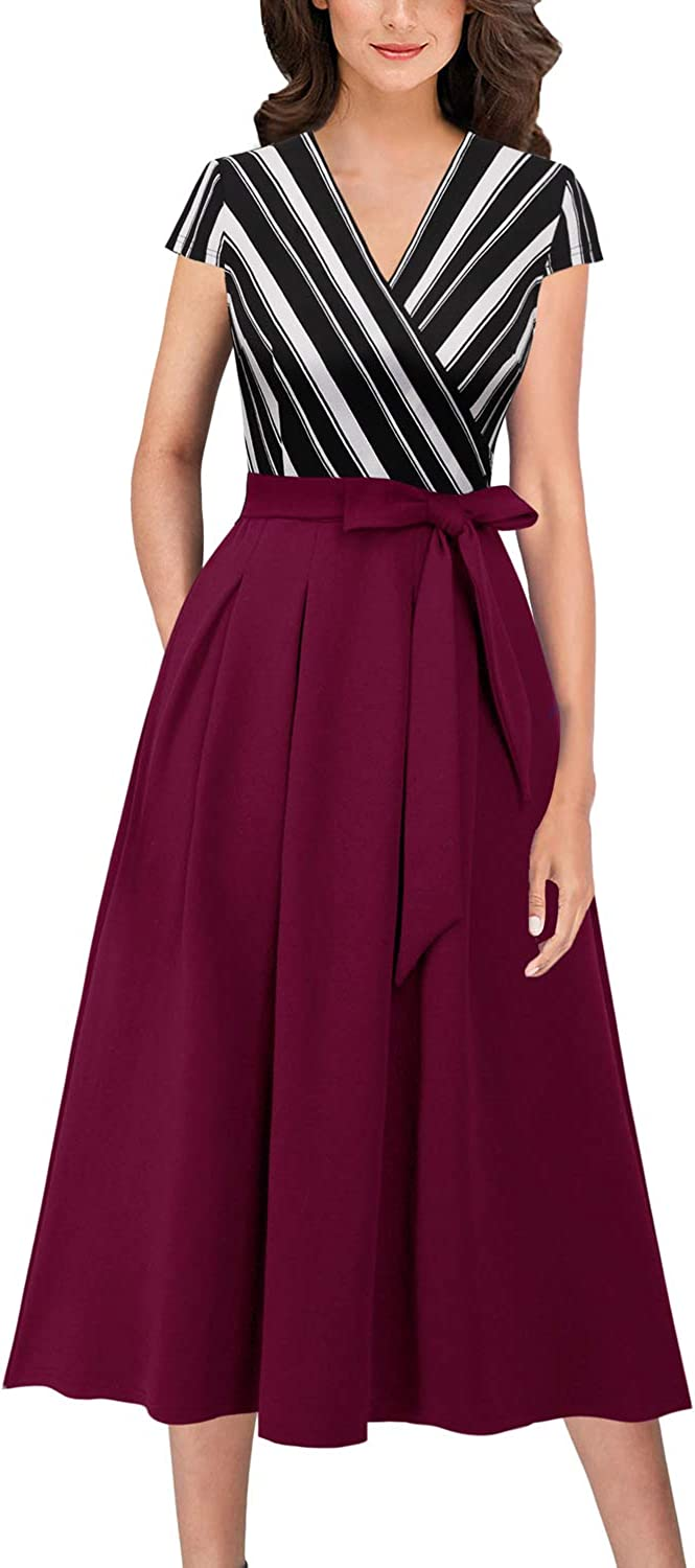 Vfshow Womens Vintage Elegant Pockets Work Business Office Casual Party A-Line Midi Dress