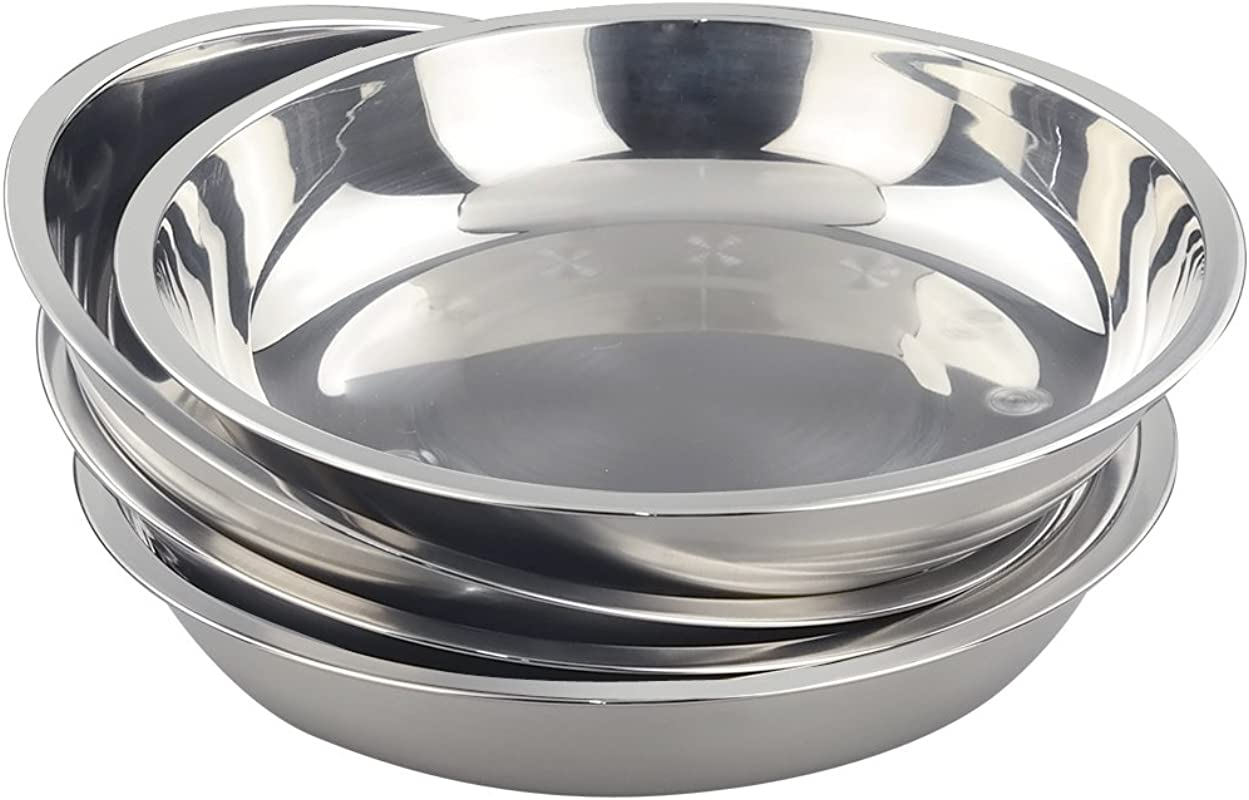 Morcte Stainless Steel Round Plates Dish Set For Dinner Plate Outdoor Camping BBQ Set Of 4