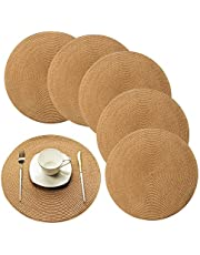 Round Placemats for Kitchen Table Plastic Dinner Placemats Woven Vinyl 15 Inch Heat Insulation Easy to Clean Set of 6