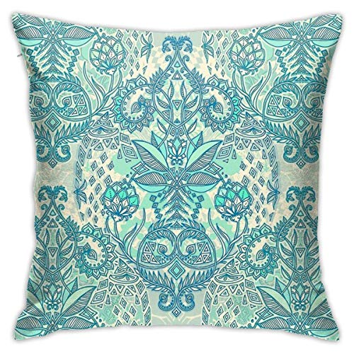 brandless Botanical Geometry - Nature Pattern In Blue, Mint Green & Cream Bedroom Sofa Decorative Cushion Throw Pillow Cover Case 18 X 18 Inch
