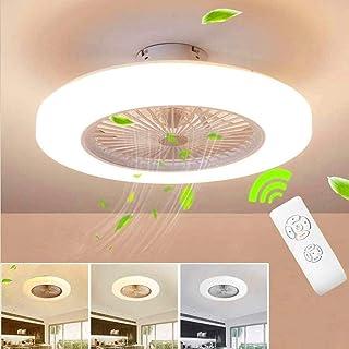 WJJH Techo del LED Ventilador de Techo con lámpara de iluminación Regulable con Control Remoto de 3 velocidades Ajustables,Blanco