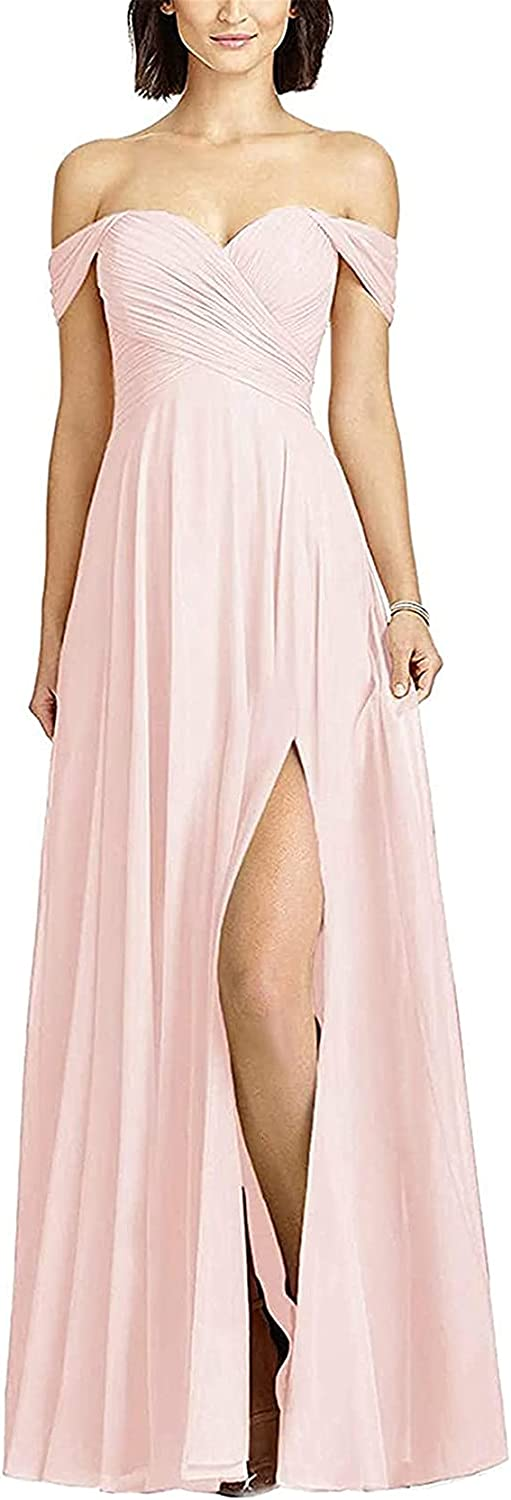 Off Shoulder Bridesmaid Dresses for Women with Slit Long Wedding Guest Party Dress Formal Evening Gowns A Line Chiffon
