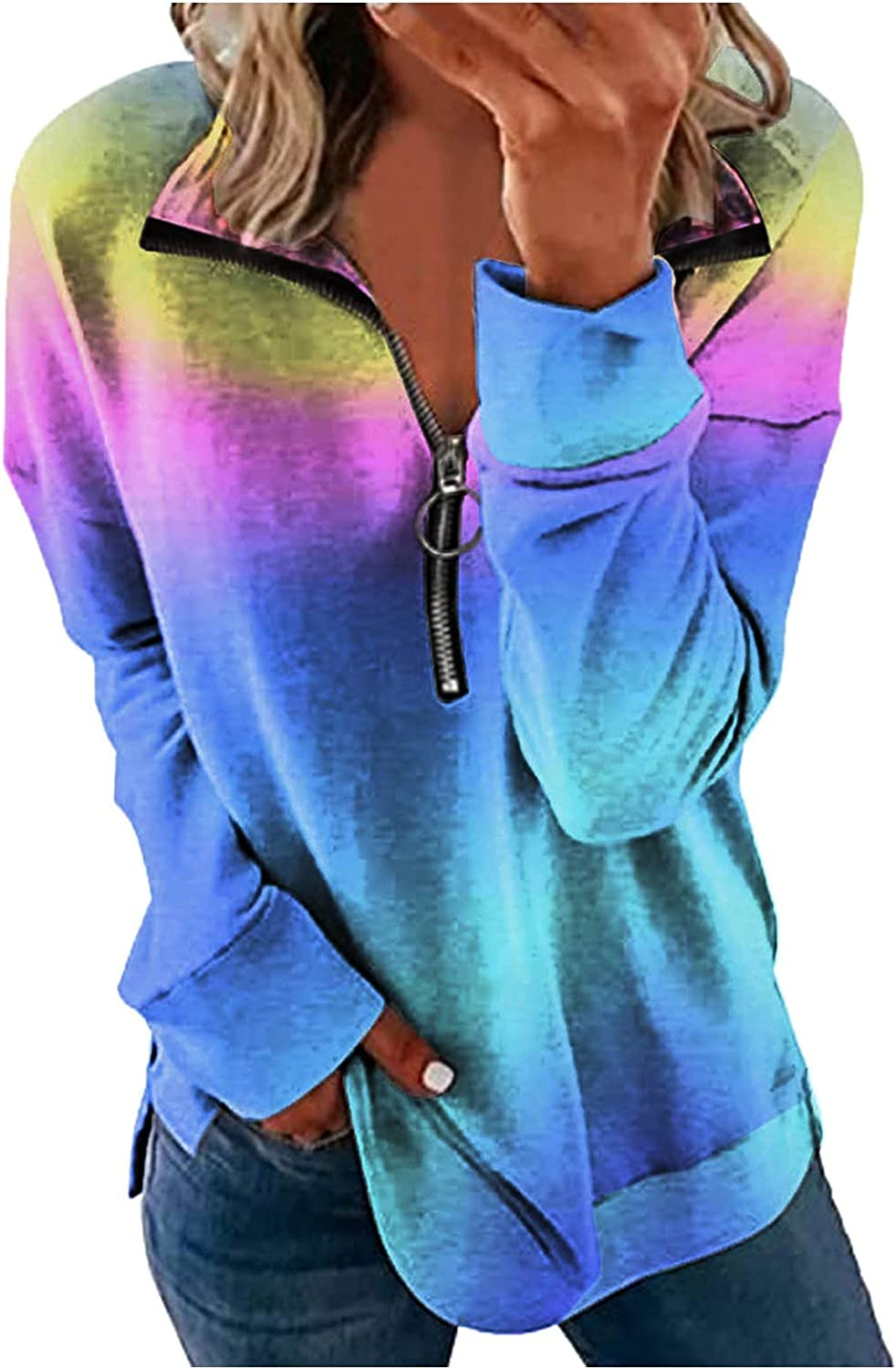 VonVonCo Pullover Sweaters for Women Casual Fashion Gradient Loose Print Sweatshirt Zipper Lapel Long Sleeve Tops Blouses