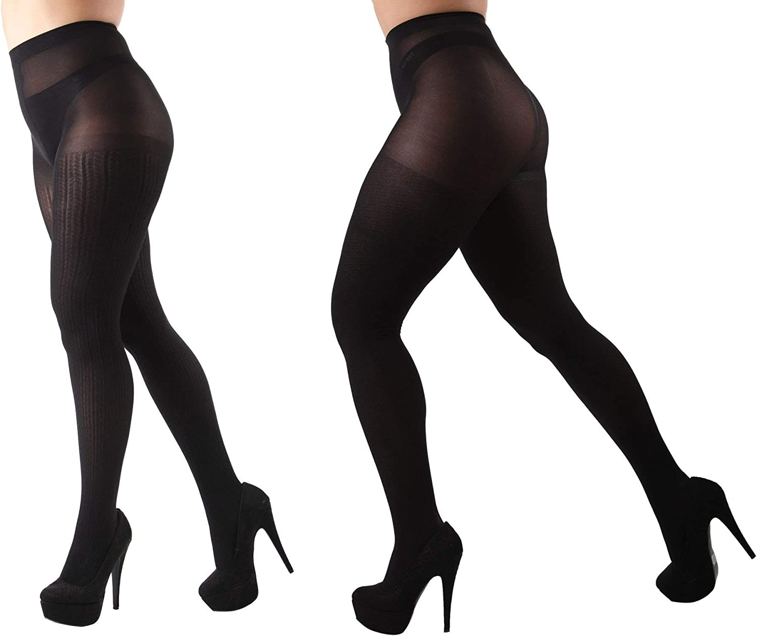 MeMoi Braided Chain/Solid Control Top Tights 2 Pack
